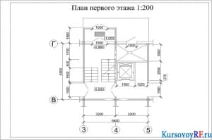 Чертеж плана первого этажа 1:200