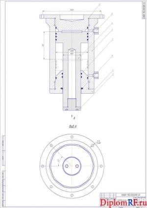 Чертёж сборочный гидравлического цилиндра (формат А1)