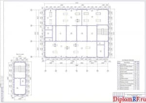 Чертёж плана помещений производственного корпуса (формат А1)