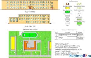 Фасад 1-7 М 1:200, Фасад Ж-А М 1:200, Генеральный план М 1:1000, Экспликация зданий и сооружений