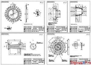Чертеж деталей: наладка фрикционная, муфта выключения сцепления, колпак защитный, диск сцепления, поршень цилиндра главного (формат А1)
