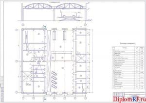Схема компоновочный план помещения ПК для ТР (формат А1)