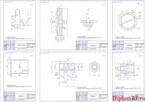 Чертеж деталей: держатель крана, поршень, фланец, гайка, штуцер, цилиндр (формат А1)
