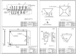9.Рабочие чертежи деталей конструкции смесителя: Месильный вал, Бункер, Крышка, Лопасть, Стенка бункера А1
