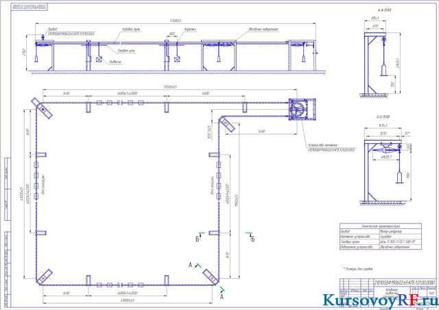 Конвейер подвесной грузонесущий чертеж купить транспортер кастен