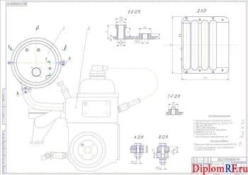 Чертеж двигатель УМЗ 4213.10 модифицированный (формат А1)