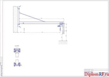 Чертёж крепления консольно-поворотного крана (формат А1)