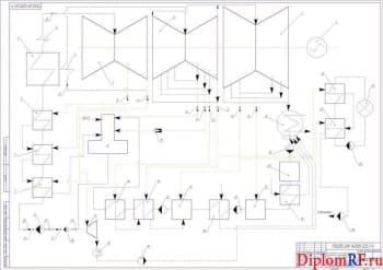 Чертеж схемы блока принципиальной тепловой К-800-240 (формат А1)