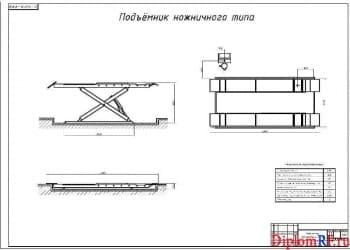 Чертёж технических характеристик подъёмника ножничного типа (формат А1)