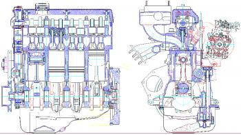 Проект 4-тактного  8-цилиндрового V-образного двигателя жидкостного охлаждения на базе прототипа ЯМЗ-238