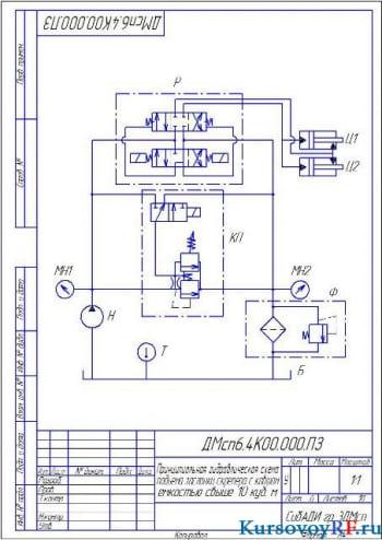 Проектирование объемного гидропривода