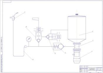 Схема принципиальная установки для смазки узлов и агрегатов автобусов А1