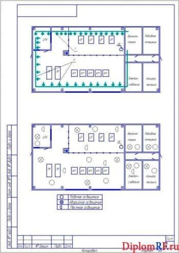 Чертеж схемы расположения воздуховодов и защитного заземления (формат А4)