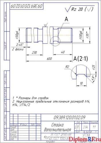 Чертеж стойка дополнительная деталь (формат А 4)