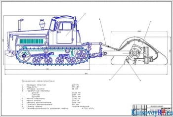 Разработка оборудования рабочего дорожной фрезы базе трактора ДТ-75