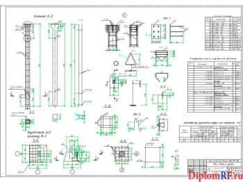 Чертеж конструкции колонн (формат А1)