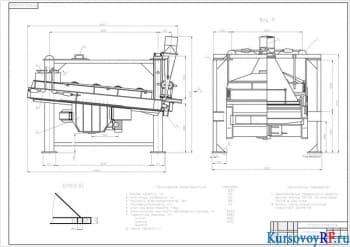 Расчет и разработка чертежей инерционного грохота с деталировкой