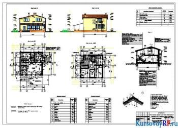 План на отм. 0,000, +3,600, Фасад в осях 1-5, А-Д, Разрез 1-1, Узел1