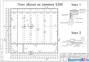 План здания на отметке 0,000, Узел 1, узел 2