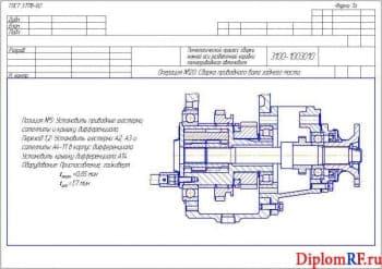 Чертеж схемы наладок на приводной вал переднего моста (формат А1)