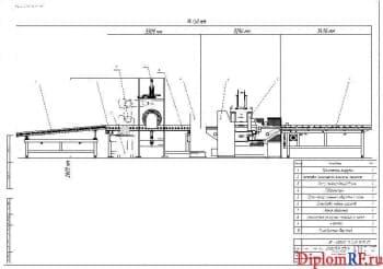 Чертеж вида общего установки автоматизированной балансировки тормозных барабанов автомобиля КАМАЗ (формат А1)