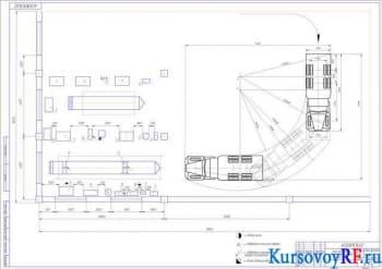 Чертеж зоны поточного ремонта автомобилей КрАЗ-267