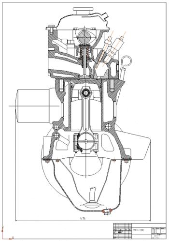 2.Чертеж поперечного разреза четырехтактного четырехцилиндрового дизельного двигателя А1