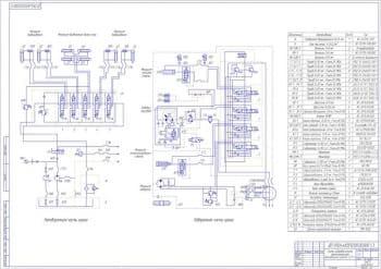 Чертёж схемы гидравлической принципиальной автомобильного крана   (формат А1)