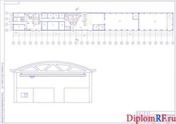 Чертеж производственного корпуса до реконструкции (формат А1)