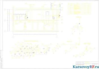 Чертеж вентиляции кузнечного цеха (разрез1-1, спецификация оборудования, аксонометрические схемы)