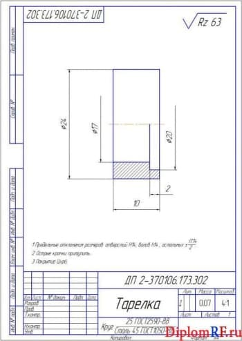 Чертеж детали тарелка (формат А4)