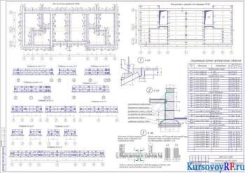 План ленточного фундамента, План раскладки и анкеровки плит перекрытия, Развертки фундам. блоков по осям, Узлы 1;2;3