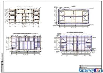 Схема расположения элементов фундаментов, Схема расположения элементов деревянных балок Б-1; Б-2; Б-3; Б-4; Б-5, План кровли, Схема расположения стропильной системы крыши