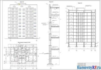 План 1-го этажа на отметке 0.000, Фасад, Разрез 2-2