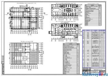 План производственного здания на отметке 0.000 М 1:400, План кровли и плит покрытия М 1:400, План 2-го этажа административно-бытового корпуса М 1:200, План 1-го этажа административно-бытового корпуса М 1:200, Экспликация помещений 2-го этажа, Экспликация