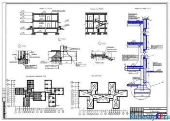 Разрезы 1-1, 2-2, разрез по стене, план перекрытий и фундаментов, узлы, план покрытия
