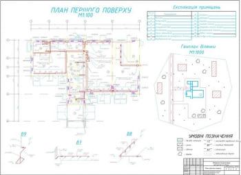 2.Чертеж первого этажа. Экспликация помещений, генплан участка, аксонометрические схемы вентиляции В7, В8, В9