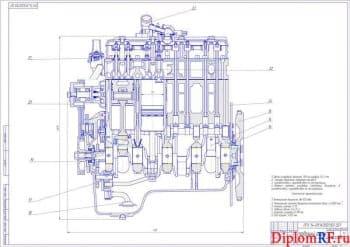 Чертеж продольного разреза ДВС (формат А1)