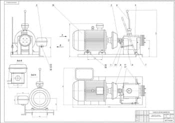 Чертеж сборный двигатель с коробкой перемены передач