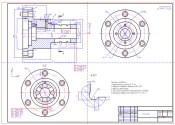 Оправка кулачковая однорядная пневматическая для установки на токарный станок модели 1282 заготовок колец