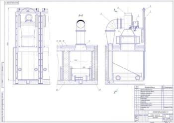 Чертёж камеры сушильной тупиковой с электрическим обогревом (формат А1)