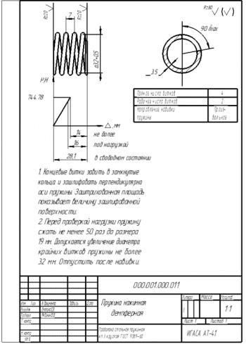 2.Рабочий чертеж диафрагменной нажимной пружины А4