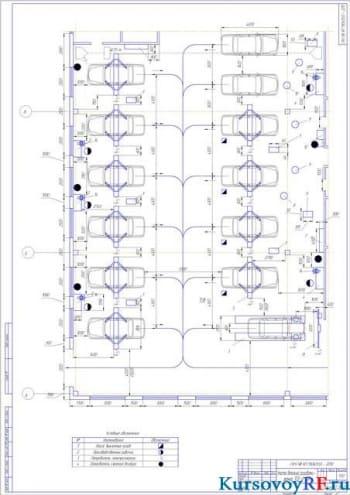 Чертеж участок детальной разработки - зона ТО и ТР
