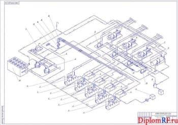 Чертеж схемы объединения трубопроводов (формат А1)