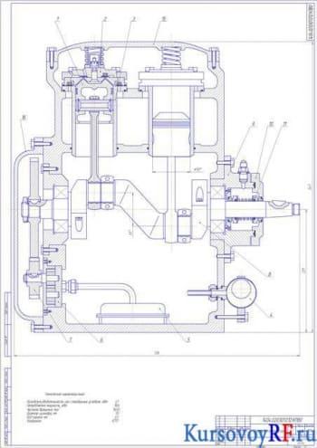 Чертеж поршневого компрессора (разрез вида сбоку)