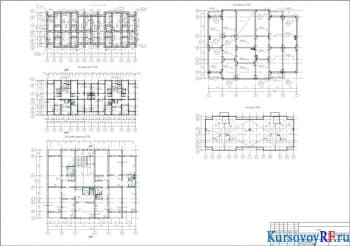План фундаментов, План 1-го этажа, План типового этажа секции, План перекрытия типового этажа секции, План кровли, Фрагмент плана с оборудованием
