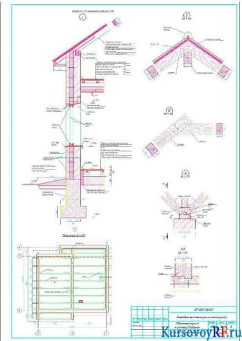 Разрез по наружной стене, Узлы I, II, III, IV, План стропил