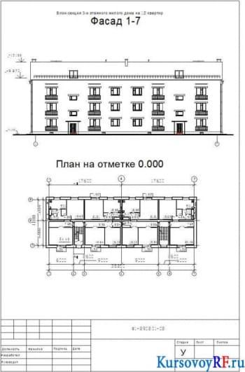 Блок-секция 3-х этажного жилого дома на 12 квартир, План на отметке 0.000