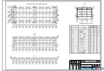 Схема взаимного расположения ферм, колонн, связей