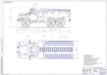 Надстройка каркасного типа для монтажа пожарно-спасательного оборудования на автоцистерну на базе ЗИЛ-131